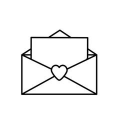message letter love romace outline vector image