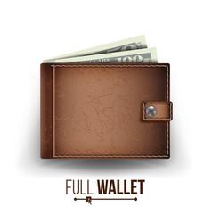 realistic classic brown wallet money top vector image vector image