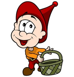 Red little elf with basket vector