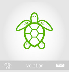 Sea turtle outline icon summer vacation vector