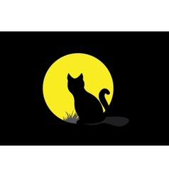 Silhouette of a black cat over moonlight vector