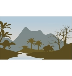 Silhouette of dinosaur in riverbank vector