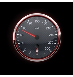 Speedometer on black background red backlight vector image vector image