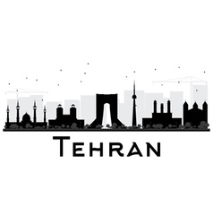 Tehran city skyline black and white silhouette vector