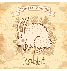 Vintage card with Chinese zodiac Rabbit vector image