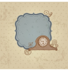 Vintage card with doodle clock and gear vector