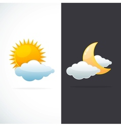 Weather icons sun and moon vector