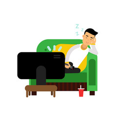 young man sleeping in front of the tv cartoon vector image