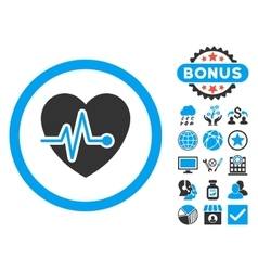Heart pulse flat icon with bonus vector