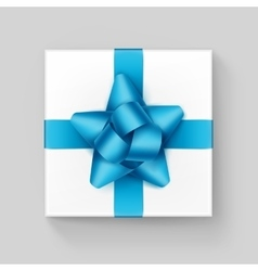 White gift box with light blue ribbon bow isolated vector