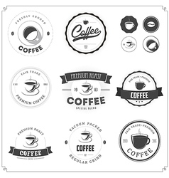 Set of coffee themed monochrome labels vector image