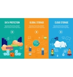 Data protection global and cloud storage banners vector