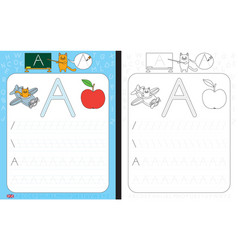 Alphabet tracing worksheet vector