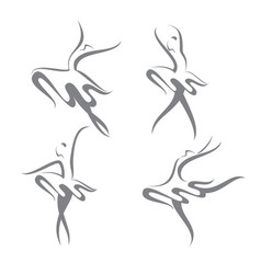 Four ballerinas vector