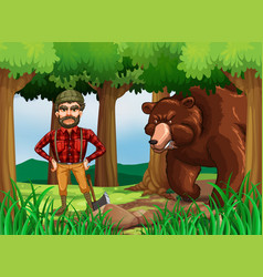 forest scene with lumber jack and bear vector image