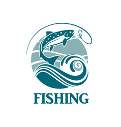 salmon fishing emblem vector image