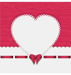 heart background with ribbon pink2 vector image