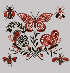 Pattern with black and red butterflies vector