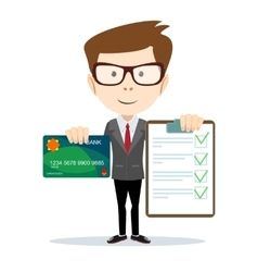 Cheerful man holding credit card and a contract vector