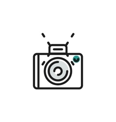 Color line icon for flat design camera photo vector