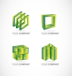 Green square cube box logo icon set vector