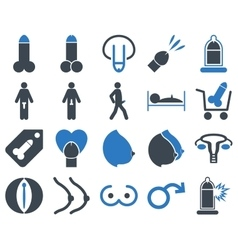 Sexual adult bicolor icons vector