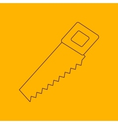 Hand saw line icon vector