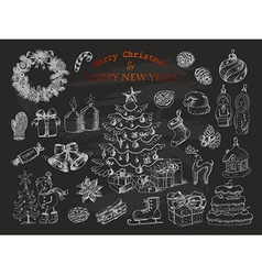 Big set of christmas decorations in sketch style vector