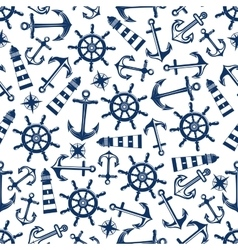 Marine seamless pattern with blue items vector