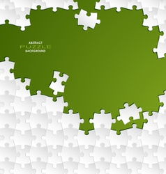 Abstract white group puzzle with green background vector