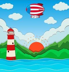 Balloon flying over the ocean vector image vector image