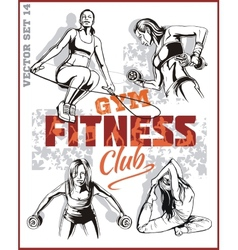 Beautiful young girls engaged in fitness vector image vector image