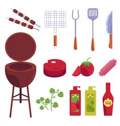 cartoon barbecue bbq grill symbols set vector image
