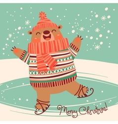 Christmas card with a pretty brown bear on an ice vector image vector image