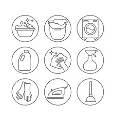 Cleaning wash line icons washing machine sponge vector