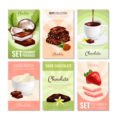 cocoa products cards collection vector image vector image