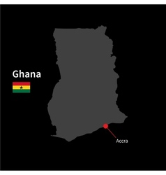 Detailed map of Ghana and capital city Accra with vector image vector image