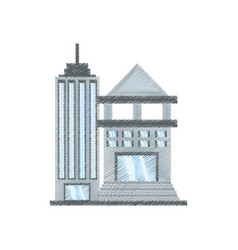 Drawing building bank commerce vector