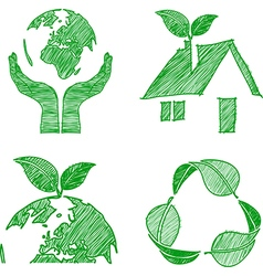 eco doodle vector image vector image