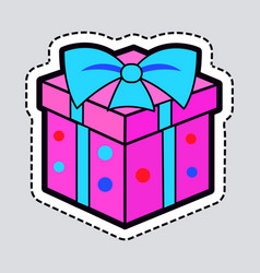 Gift box pink new year present with blue ribbon vector