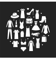 icons set of fashion ladieswear vector image vector image