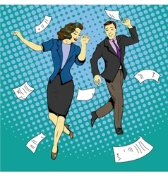 Man and woman dancing with paper documents flying vector image vector image