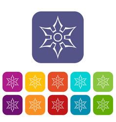 ninja shuriken star weapon icons set flat vector image