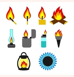 Objects giving fire vector image vector image