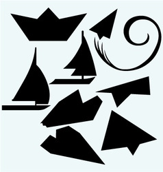 Origami plane and ship vector image vector image