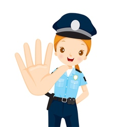 Policewoman raise hand to stop vector