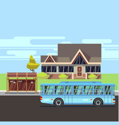 residential house with bus stop flat vector image vector image