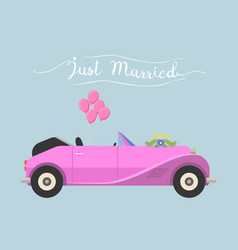 retro cabrio car wedding just married vector image