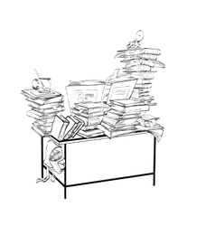 School Desk with books literature and the library vector image vector image