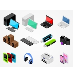 Set of high-tech gadgets vector image vector image
